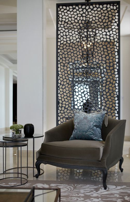 Elegant Lovely Patinated Metal Work...great Room Divider Idea!