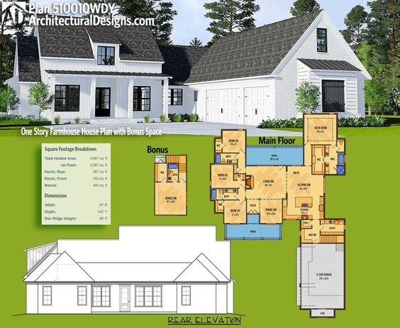 Plan 510010wdy One Story Farmhouse House Plan With Bonus Space House Plans Farmhouse House Plans House Plans One Story