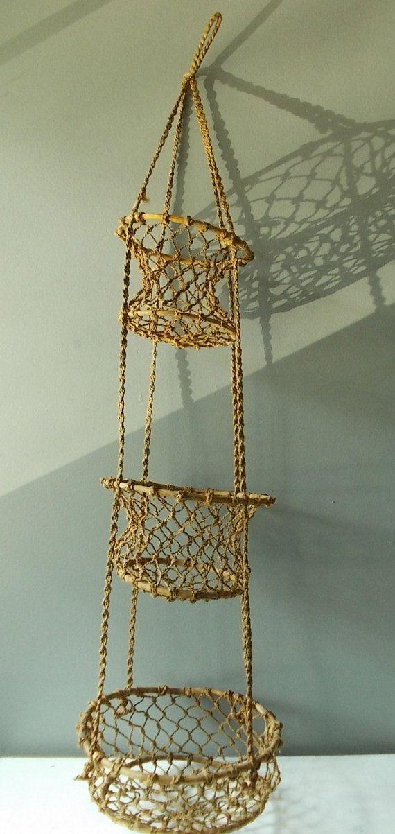 3 Tier Hanging Basket Macrame And Bamboo Vintage Kitchen Storage Or Planter