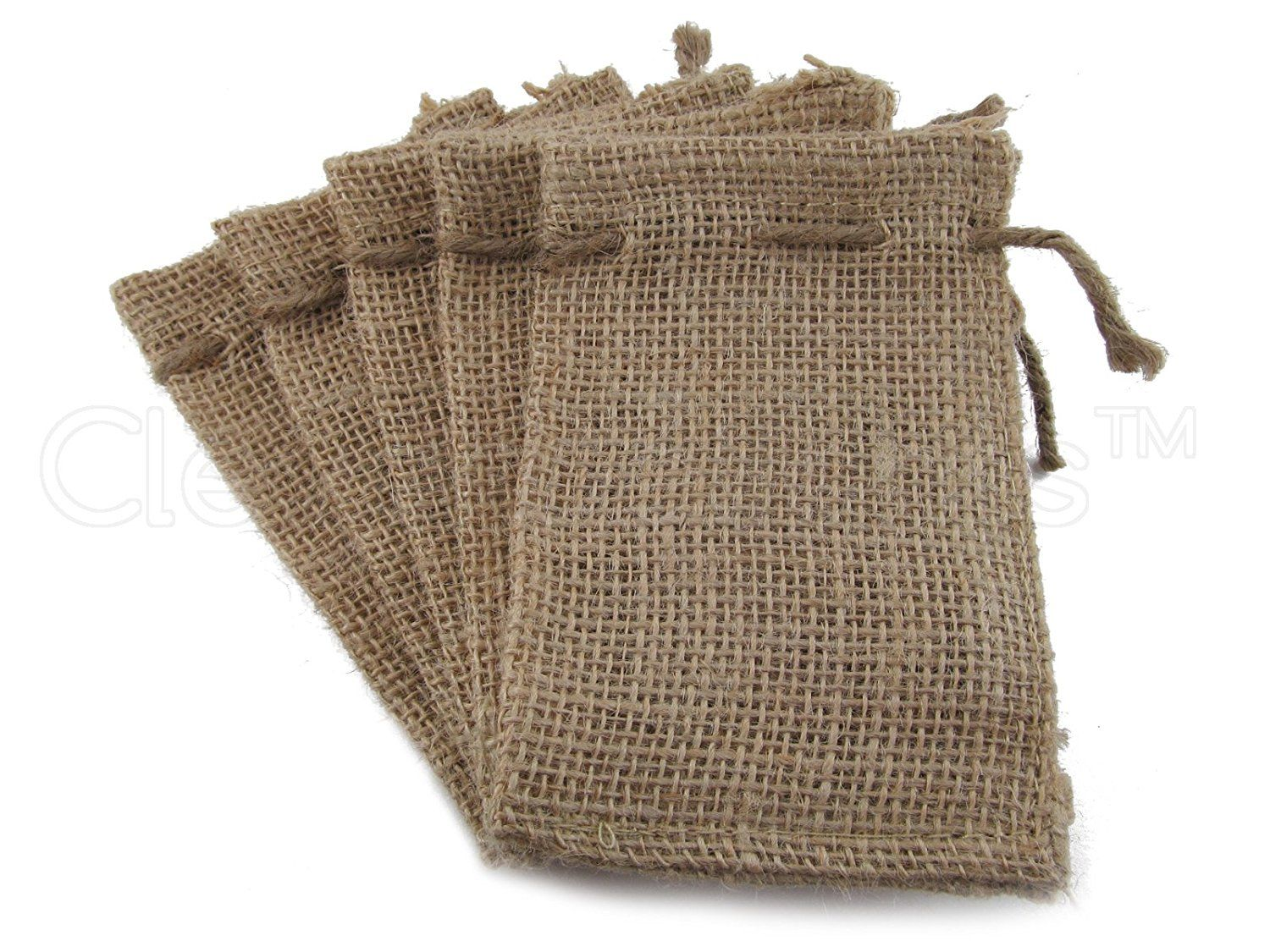Cleverdelights 3 X 5 Burlap Bags With Natural Jute