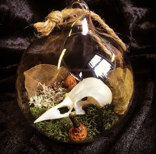 Crow Skull, Skull, Glass Bauble