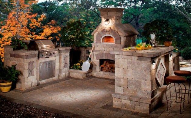 Outdoor Küche Rustikal Shteine Kamin Backofen