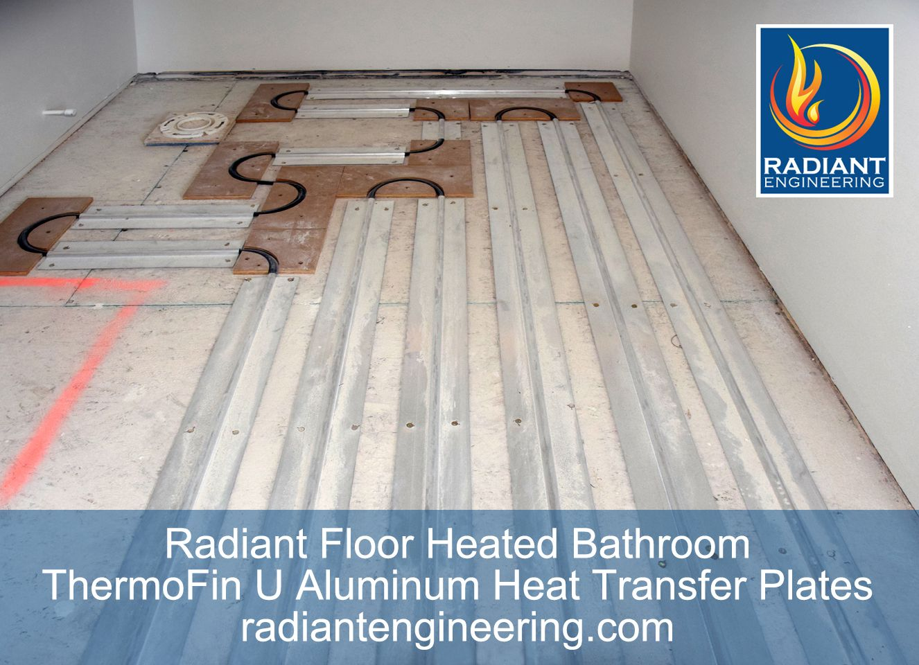 Radiant Floor Heating In A Bathroom With ThermoFin U Extruded Aluminum Heat  Transfer Plates. Patented