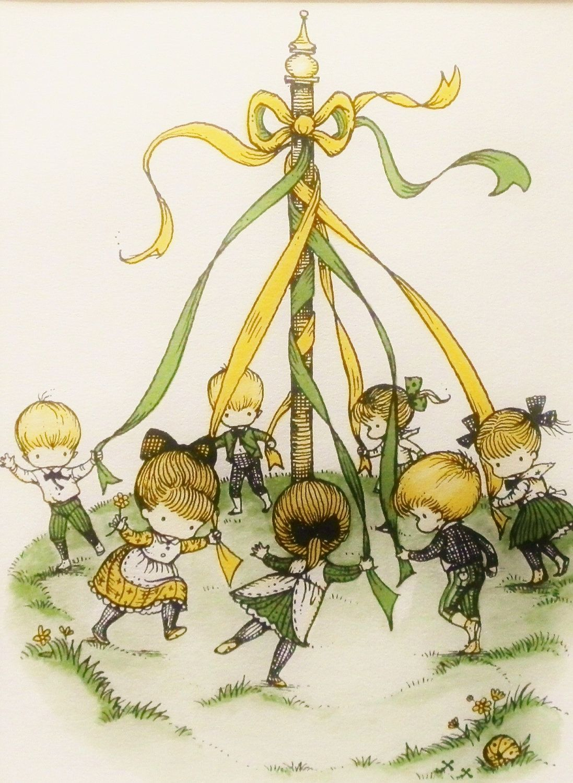Spring Home Decor Maypole Dance, Best Friends Children Print (1960s Art, Wall Hanging) Artists Illustration. $14.00, via Etsy.
