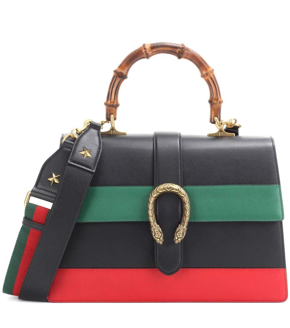 GUCCI - Dionysus Stripe Large leather shoulder bag