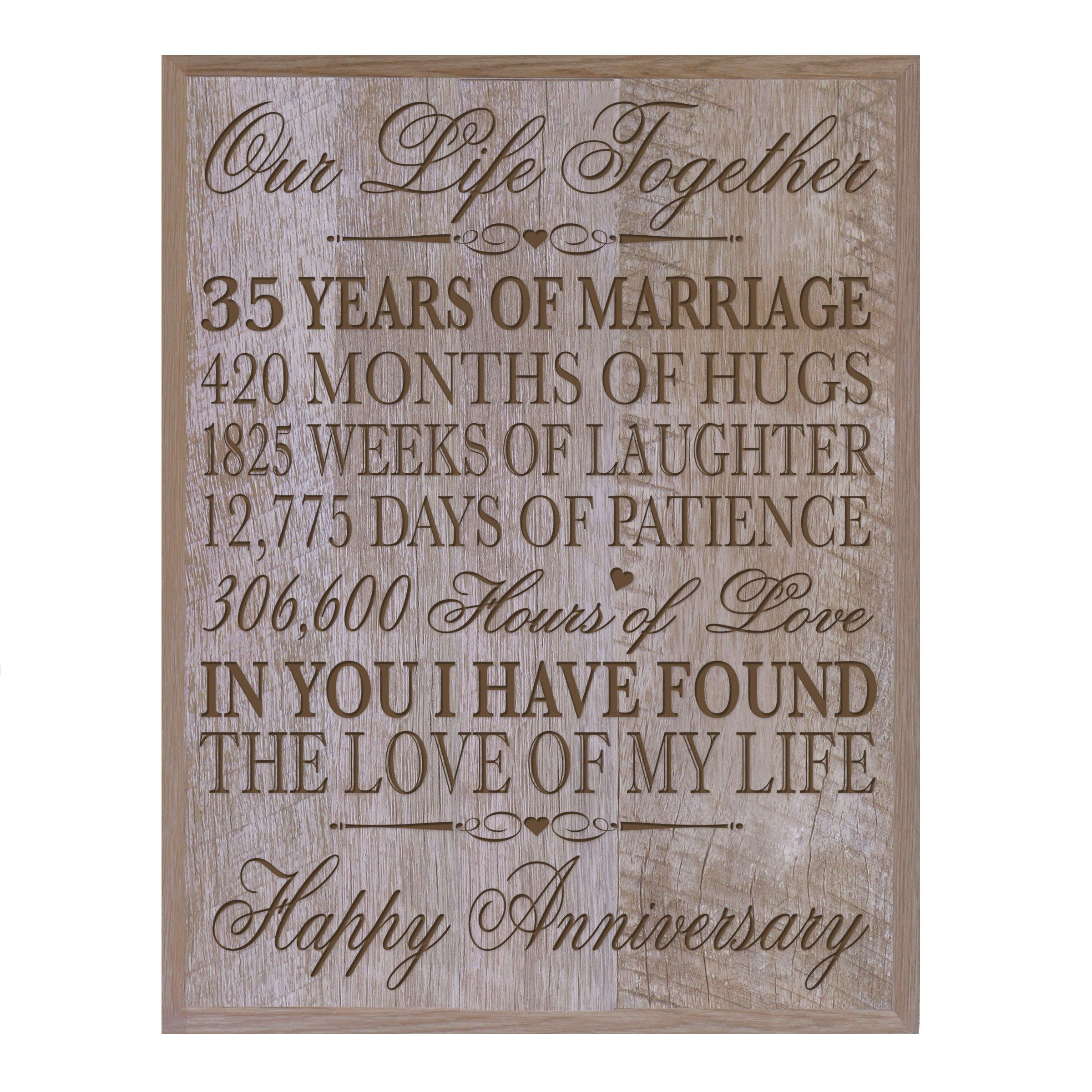 35th Wedding Anniversary Wall Plaque Gifts for Couple