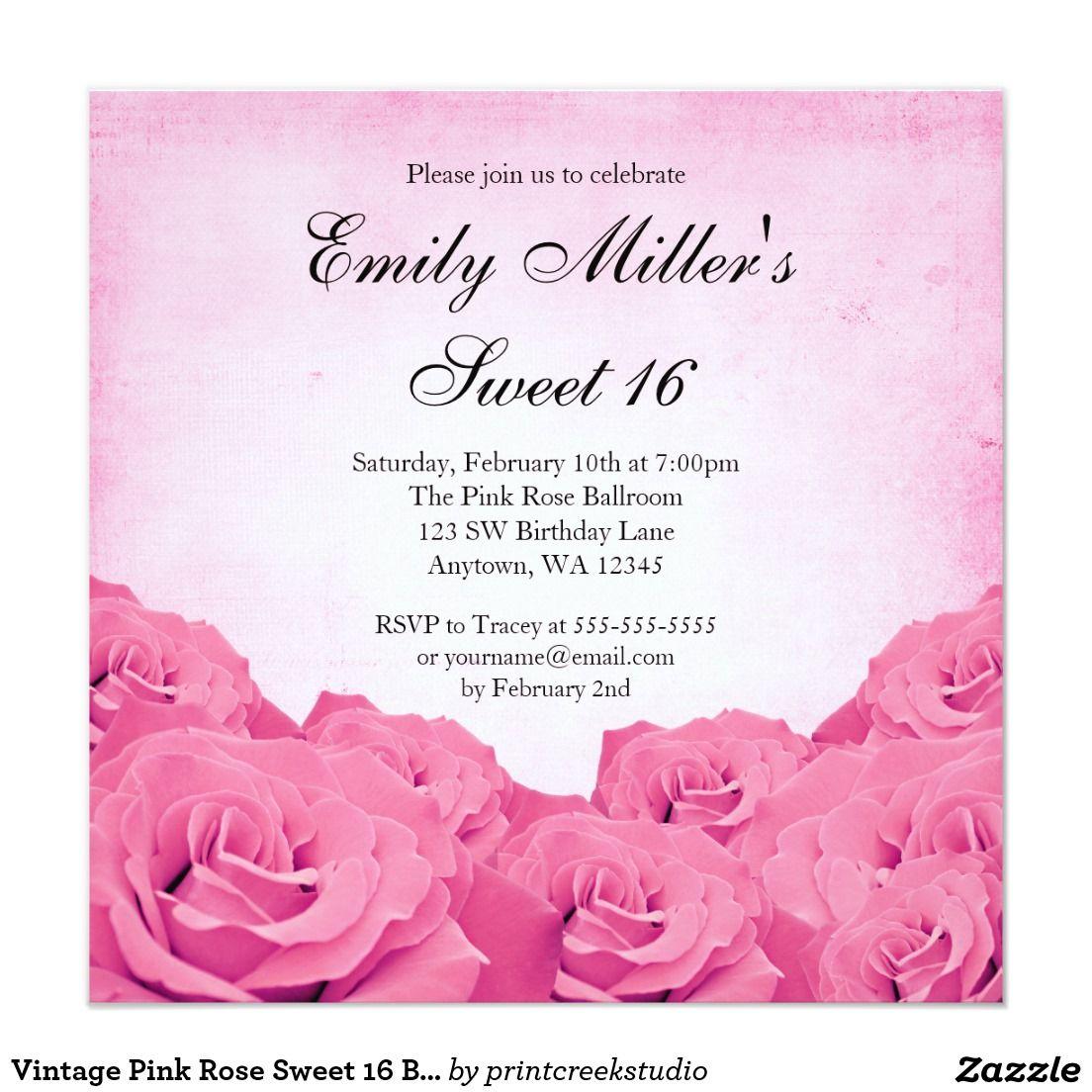 Vintage Pink Rose Sweet 16 Birthday Party Invitation | SWEET SIXTEEN ...