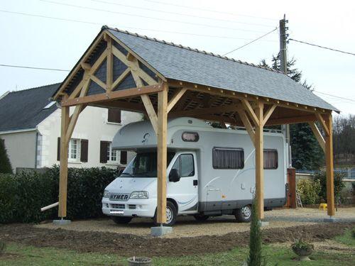 abri camping car en ch ne 4 x 8 x 3 m de passage sous poutre couverture en ardoises abris. Black Bedroom Furniture Sets. Home Design Ideas