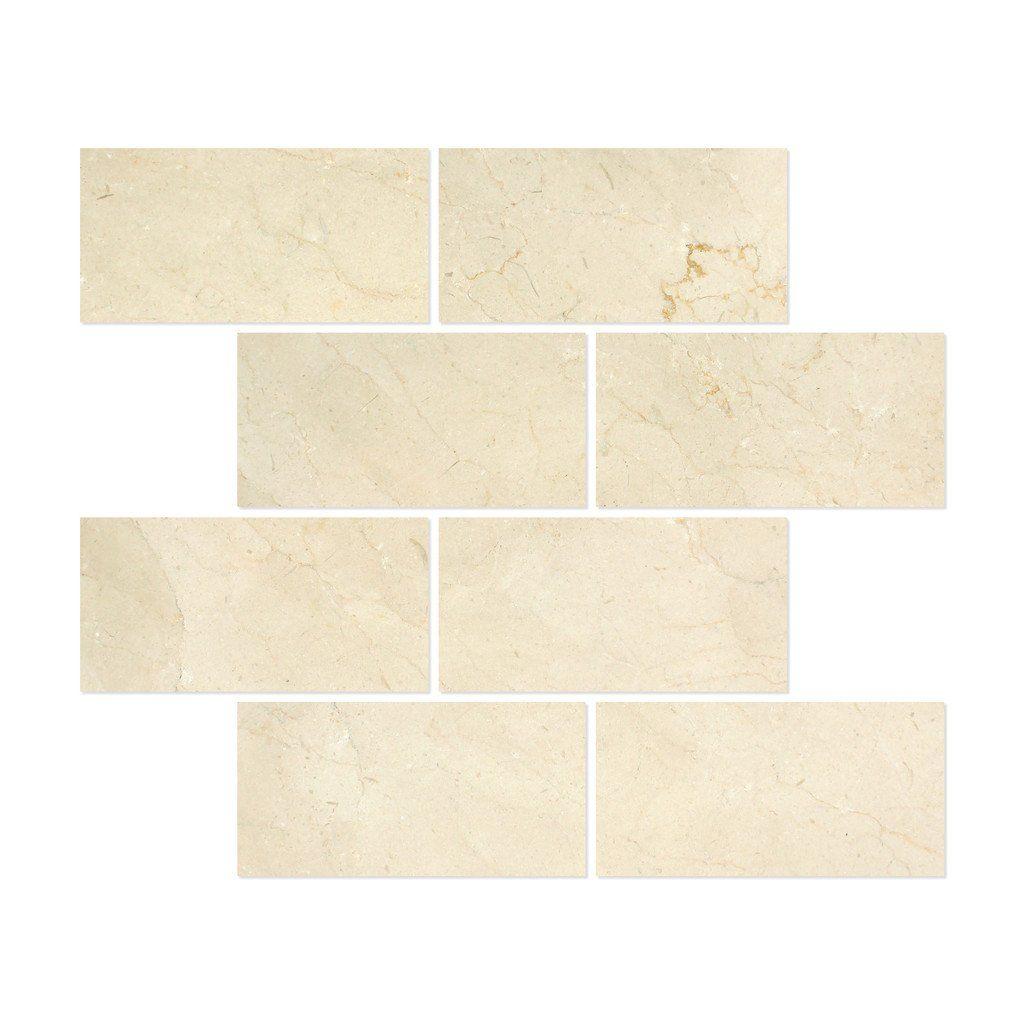 6 X 12 Crema Marfil Marble Polished Subway Brick Field Tile Crema