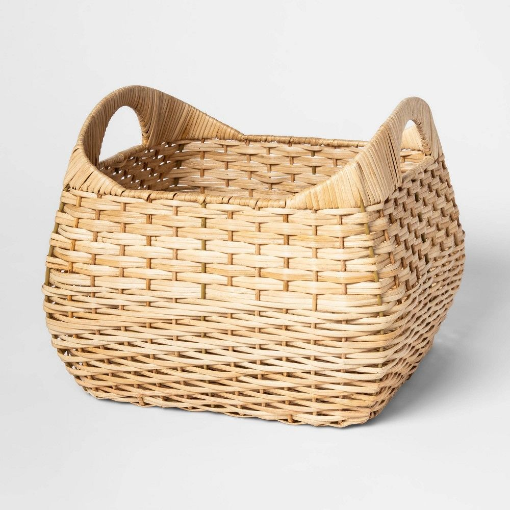 11 X13 Small Basket With Curved Handles Natural Threshold Decorative Storage Baskets Decorative Storage Small Basket