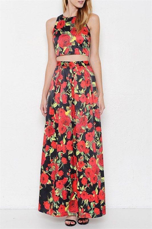 2 Piece Floral Gown Skirt Set | eBay | Dresses | Pinterest | Skirt ...