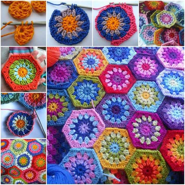 DIY Colorful Starburst Hexagon Blanket Free Crochet Pattern | Fun ...