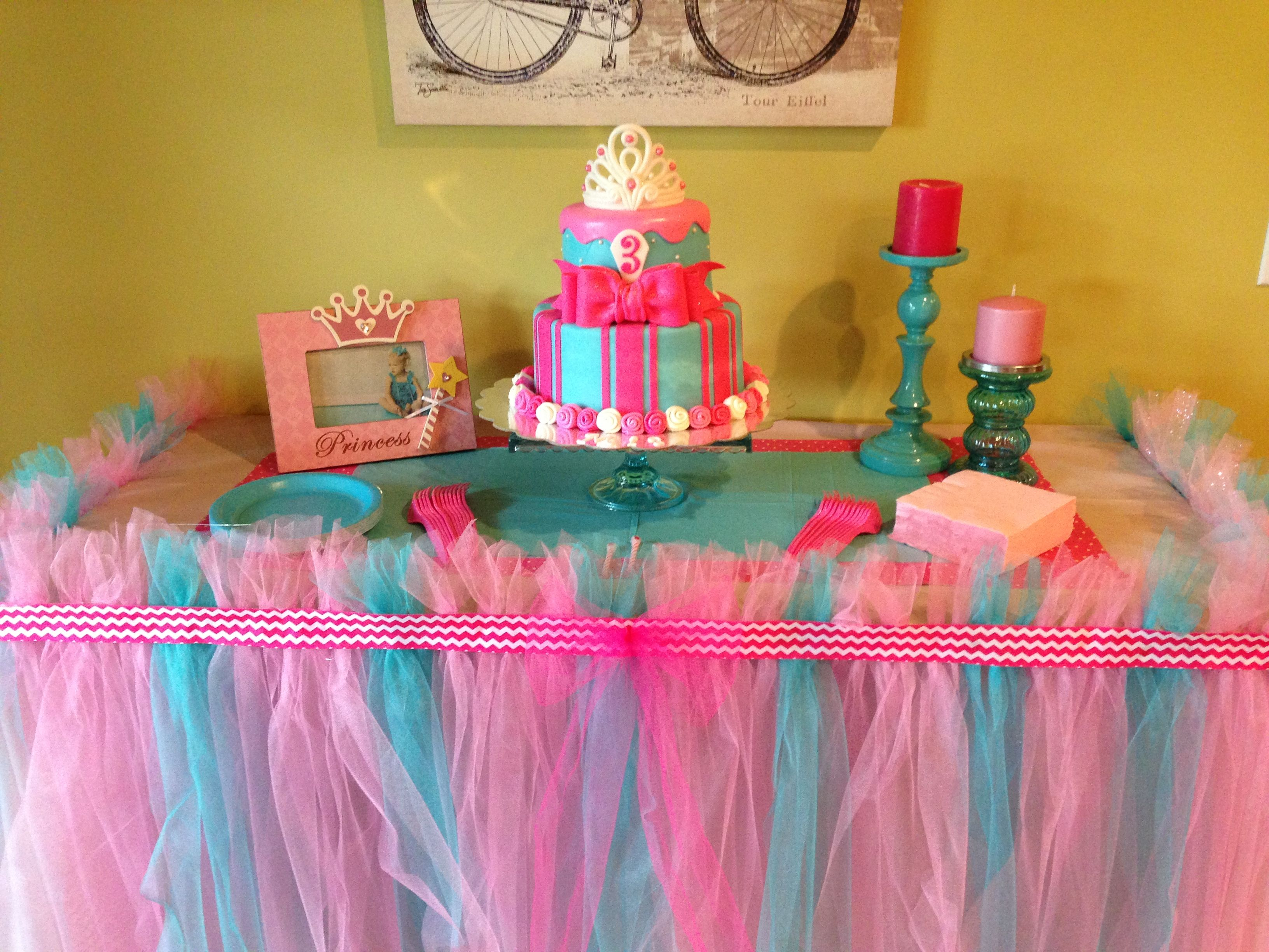 Pink U0026 Turquoise Princess Party! Tutu Tablecloth!
