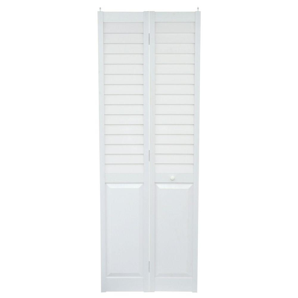 Home Fashion Technologies 28 In X 80 In Louver Panel White Pvc Composite Interior Closet Bi Fold Door 7402880100 The Home Depot With Images White Paneling Bifold Doors