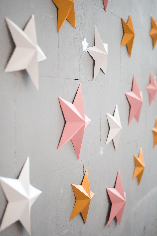 Twinkle Twinkle Little Star 3d Paper Stars Pink Gold Wall Etsy