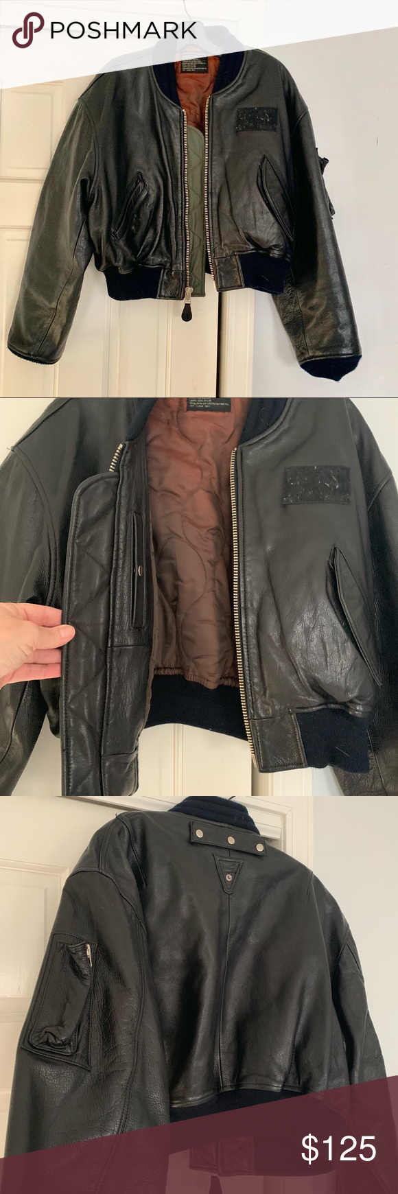 Vintage authentic Avirex Leather flight jacket Cropped