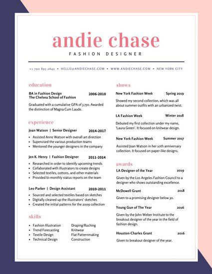 Blue And Pink Fashion Colorful Resume  Resume    Template