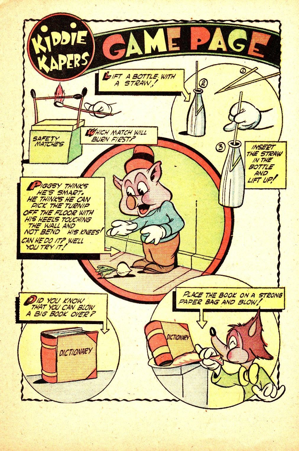 Kiddie Kapers Game Page safety matches  dictionary bottle and straw tricksPiggsy the Funny Animal cartoon Pig comic book scans Kiddie Kapers #1 - Page 17