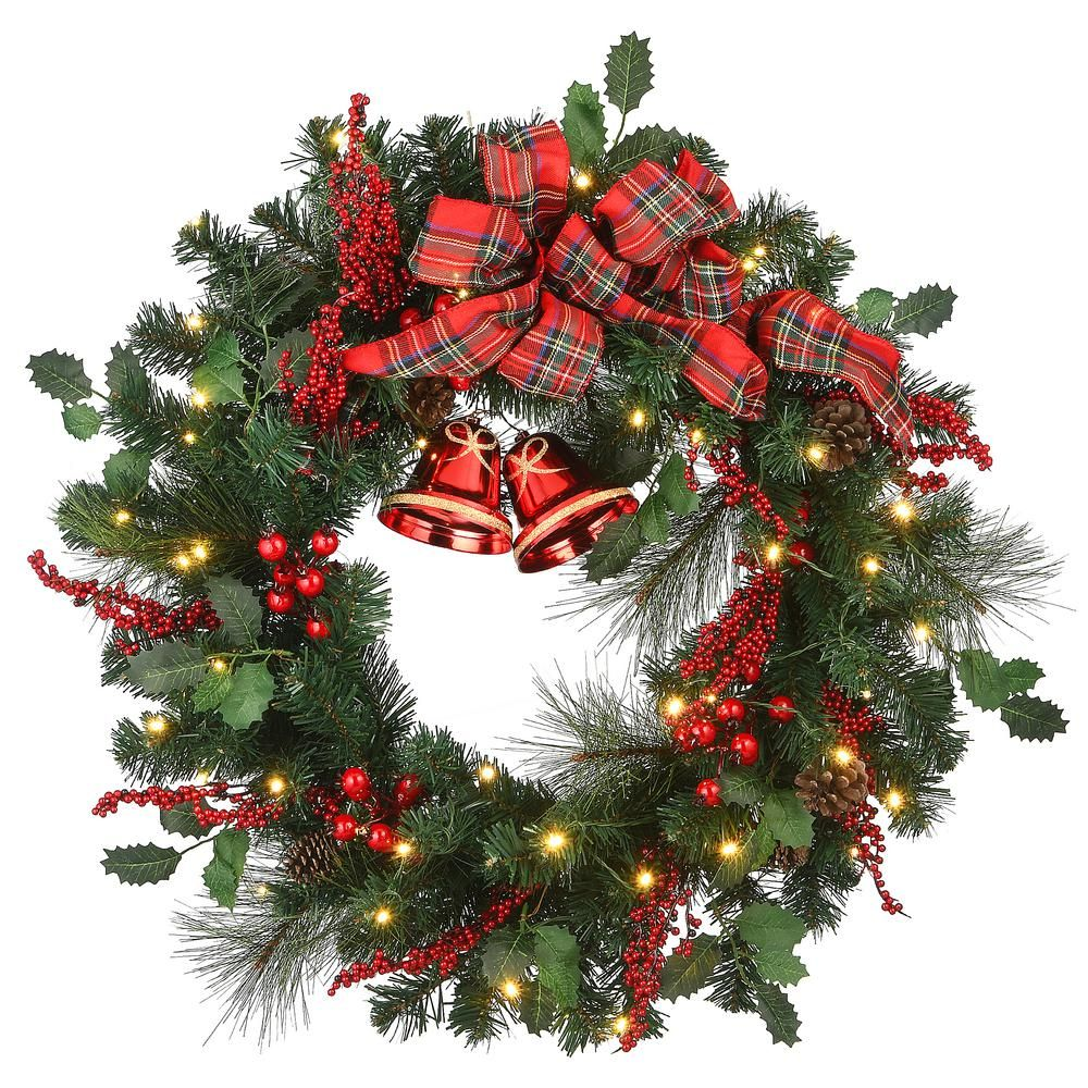 National Tree Company 30 in. Christmas Wreath with 50-Battery Operated LED Lights-RAC-JS1904X30 – The Home Depot