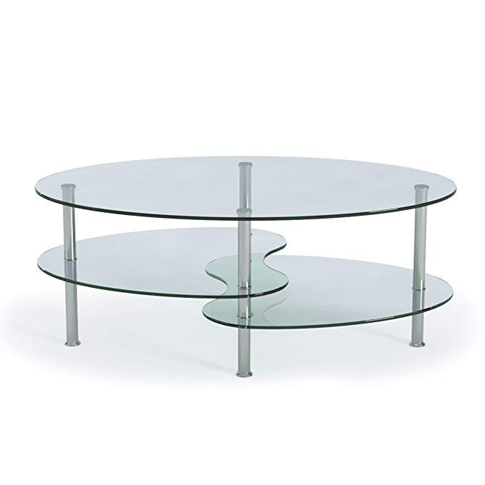Amazon Com Ryan Rove Ashley Oval Two Tier Glass Coffee Table Coffee Tables For Living Room Kitchen In 2020 Coffee Table Glass Coffee Table Perfect Coffee Table