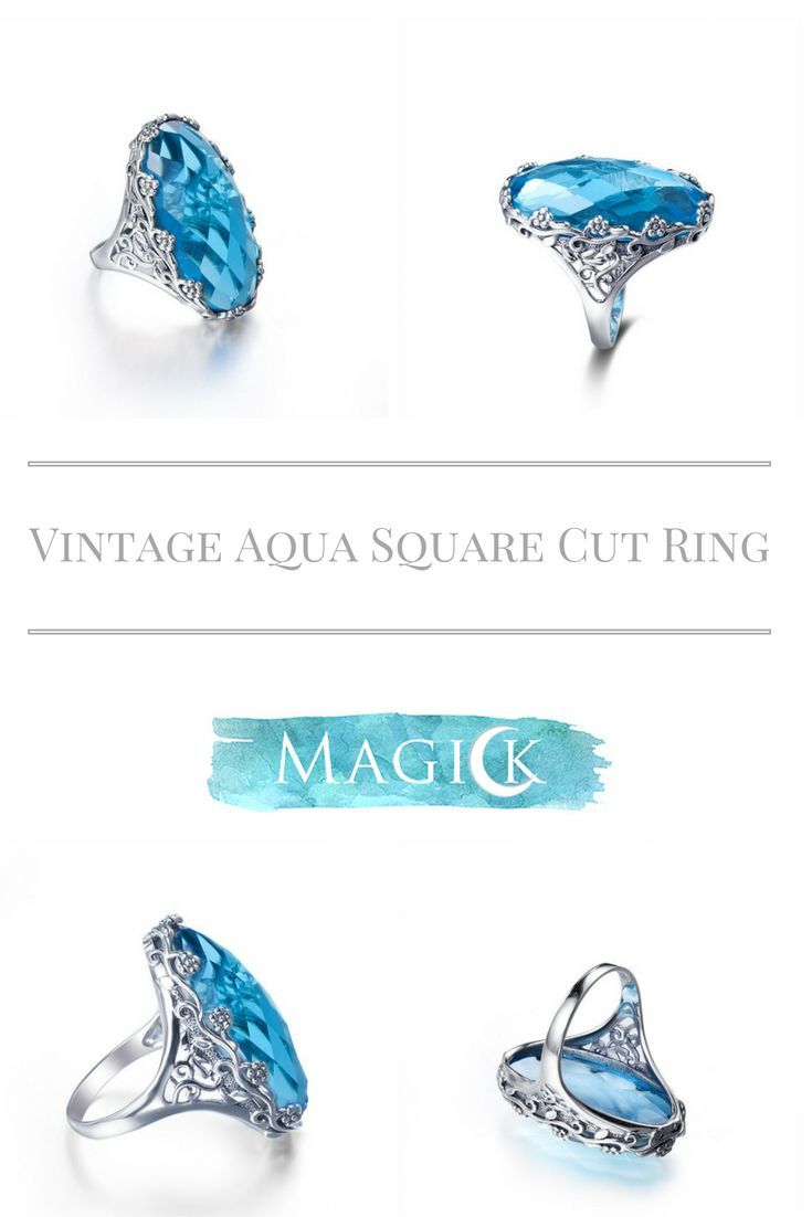 Vintage Aquamarine Ellipse Ring