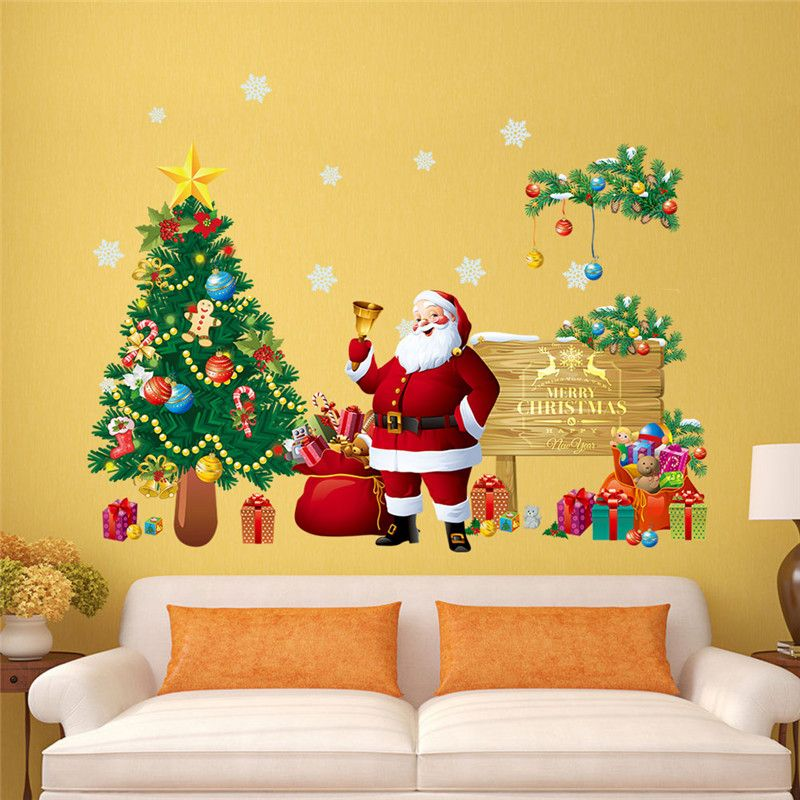 Christmas decoration Santa Claus tree gift wall stickers for kids ...