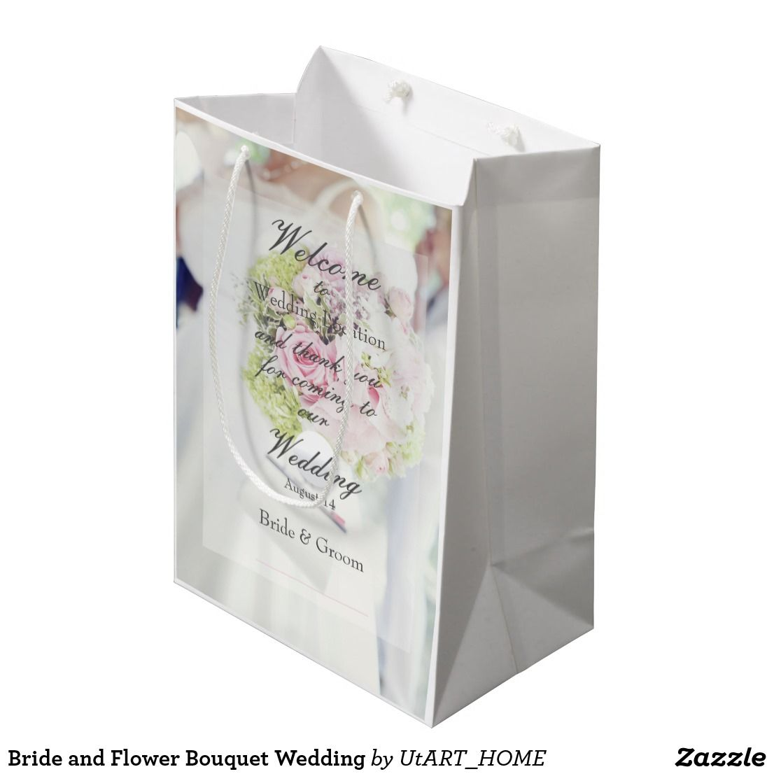 Bride and flower bouquet wedding medium gift bag utart wedding