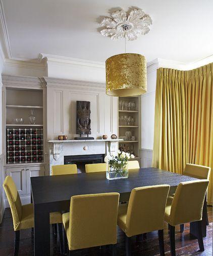 Comedor rectangular negro con sillas amarillas, muy linda ...