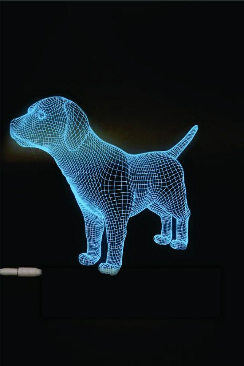 Dog 3d Illusion Acrylic Led Lamp This Cnc Files Dxf Cdr Etsy In 2020 3d Illusions 3d Illusion Lamp Illusions