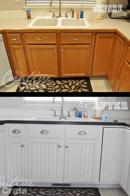 Info's : Add bead board to flat panel cabinets and paint...She's got an AMAZING bathroom redo too.