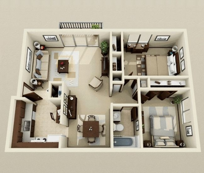 50 Plans 3D d\u0027appartement avec 2 chambres Appartements, Idée et Plans