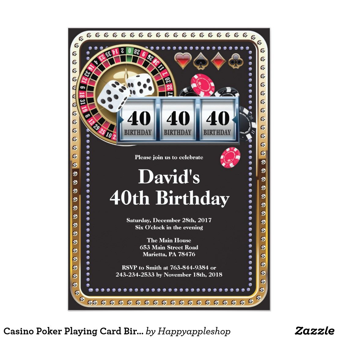 Casino poker playing card birthday invitation