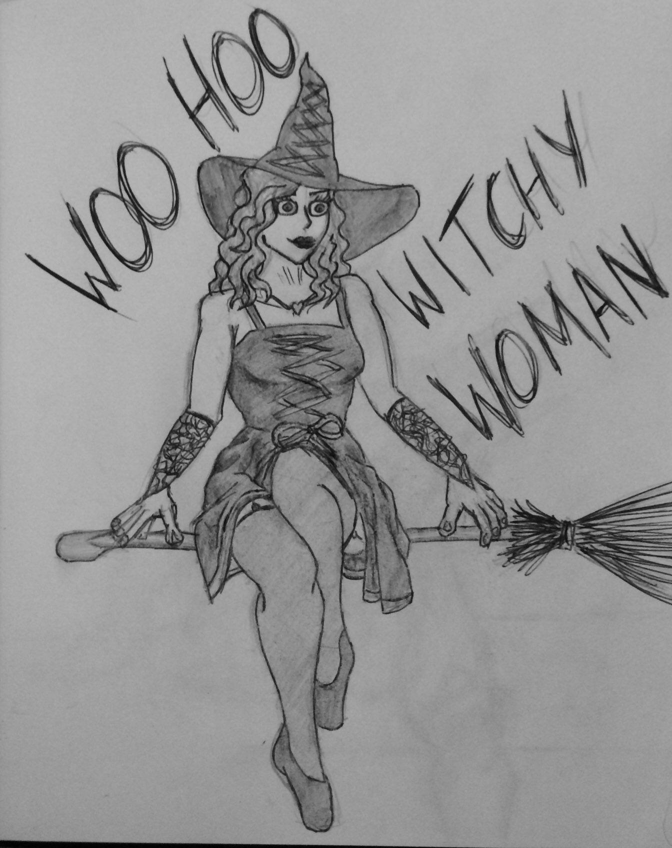 Woo Hoo Witchy Woman B+W