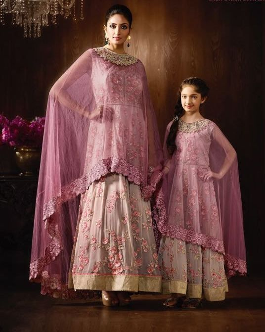 d992357a51 Designer Purple Embroidered Suit Piece Mother Daughter Combo