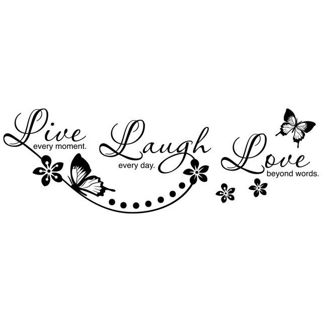 Wandtattoo »Live Laugh Love«