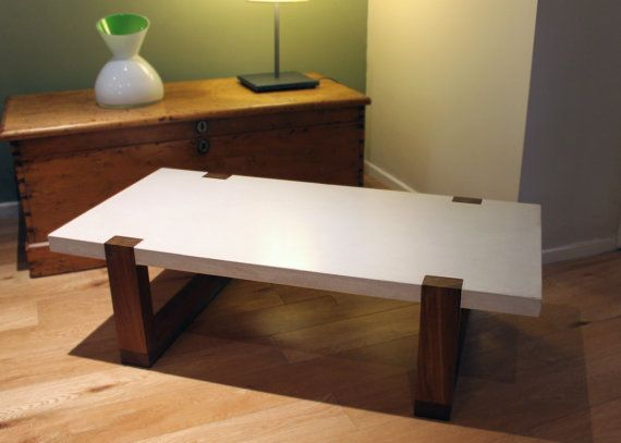 White Concrete Reclaimed Wood Coffee Table