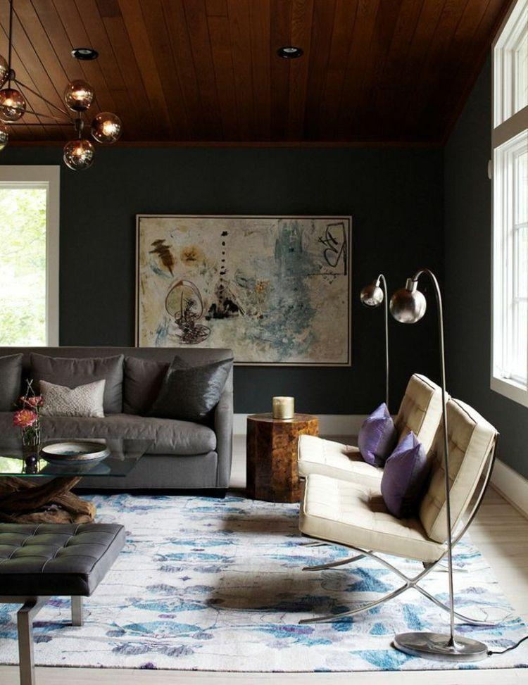 Dunkle Wandfarbe Wohnzimmer Idee Holzdecke Wandbild Grau Ledersofa