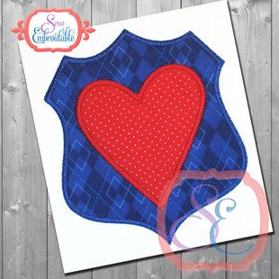 Heart Badge Applique bySew Embroidable