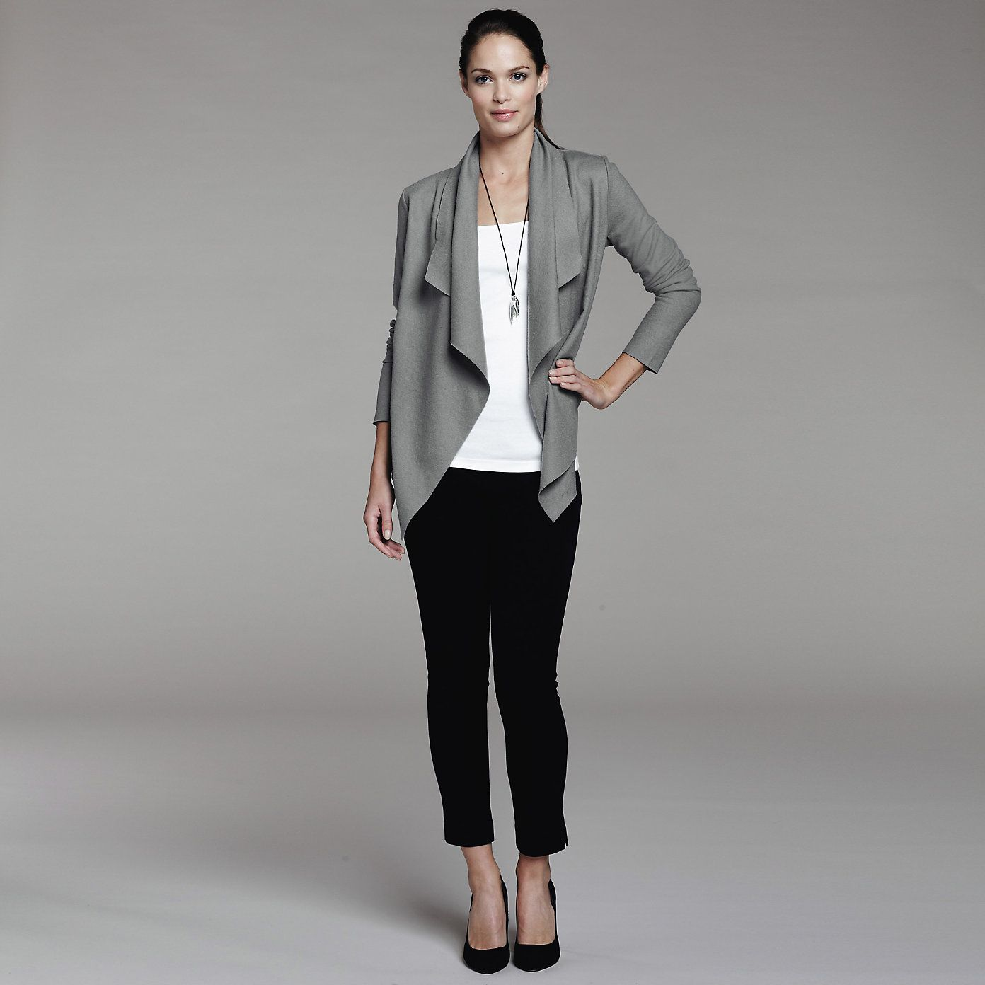 Short Waterfall Wool Cardigan - Frost Grey | Fashioninspiration ...