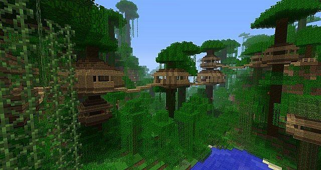 Tree Village Jungle Minecraft Map Minecraft Ideeen Minecraft