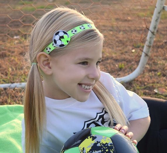 Girls Soccer Headband - Sports Headband - Soccer Ball Headband for Girl -  Child Headband - Neon Gree 4bbb9a09ca4
