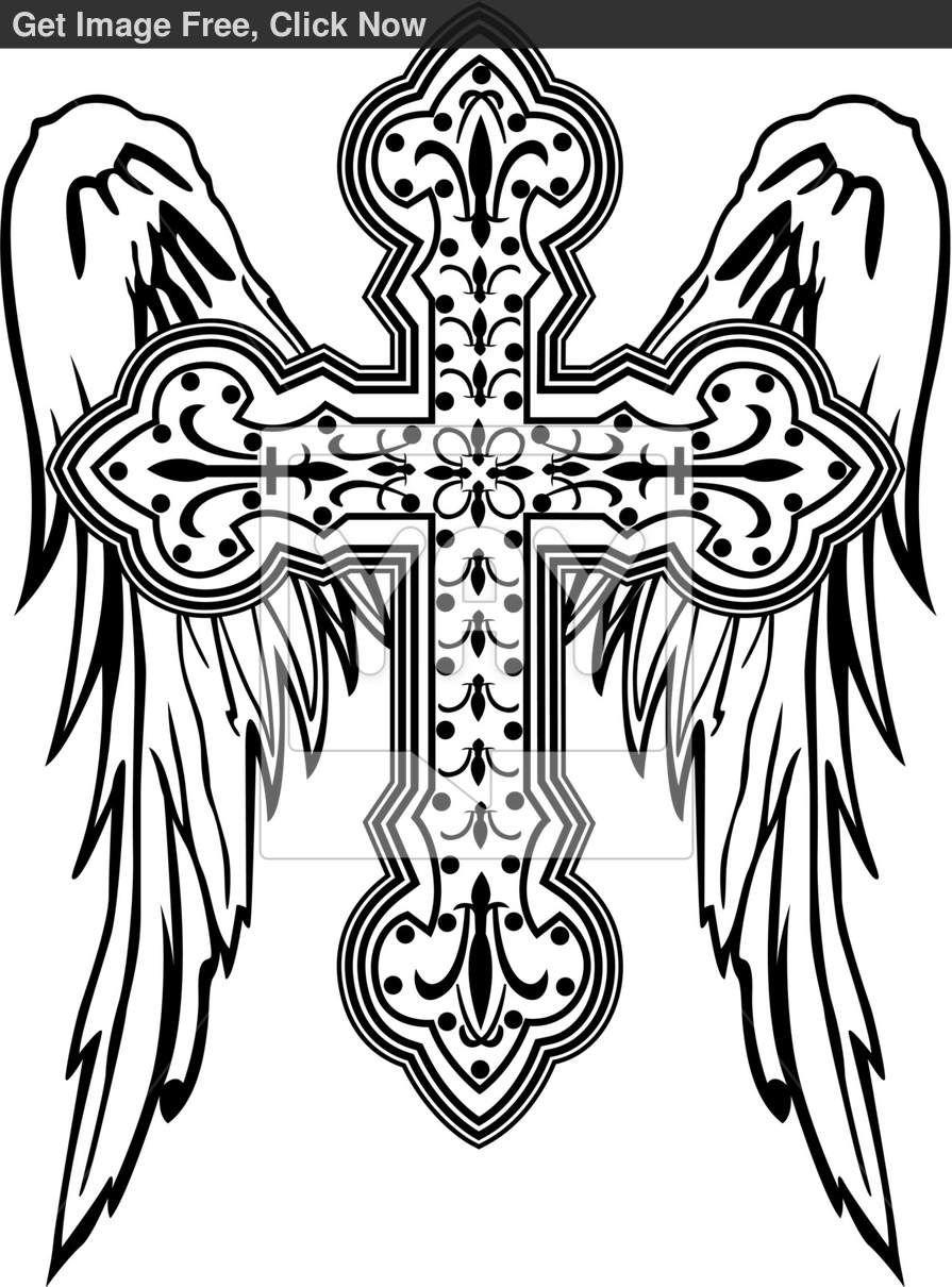 cross-with-wing-illustration-30ca24.jpg (895×1210) | Cross tattoos ...