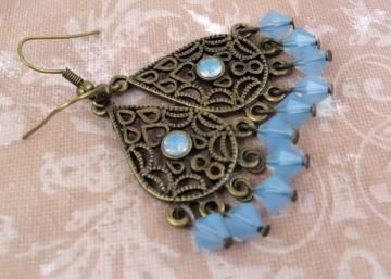 Air Blue Opal and Brass Chandelier Earrings by scorpienna for $20.00