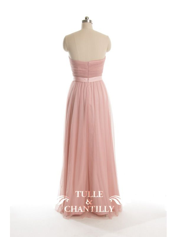 Long Tulle Strapless Bridesmaid Dresses TBQP313 | Pink tulle, Dusty ...