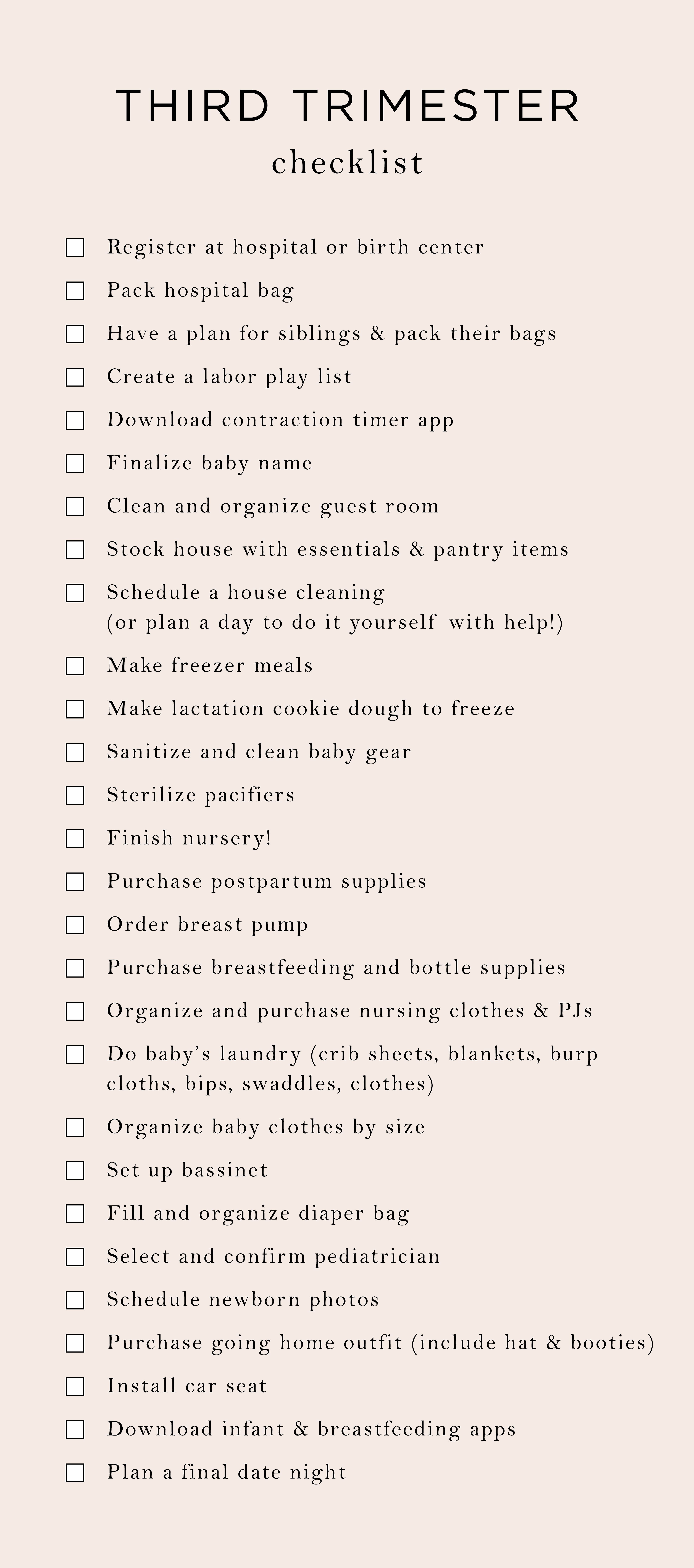 Everything My 3rd Trimester To Do List