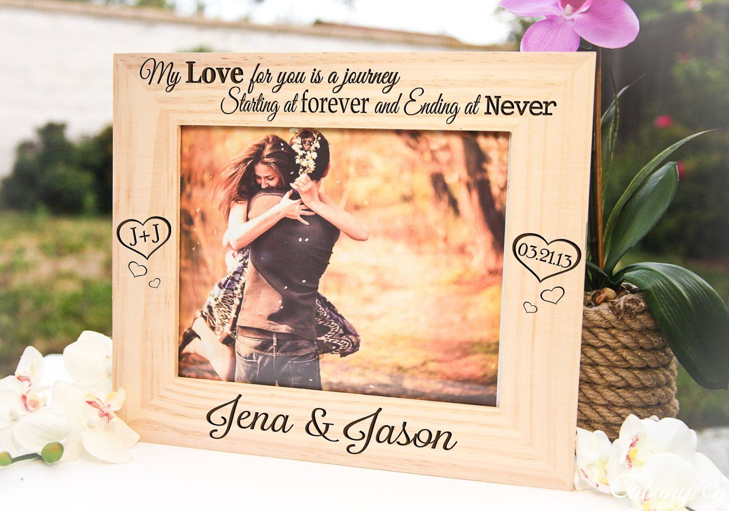 Large Personalized Picture Frame Engraved Frame for Couple