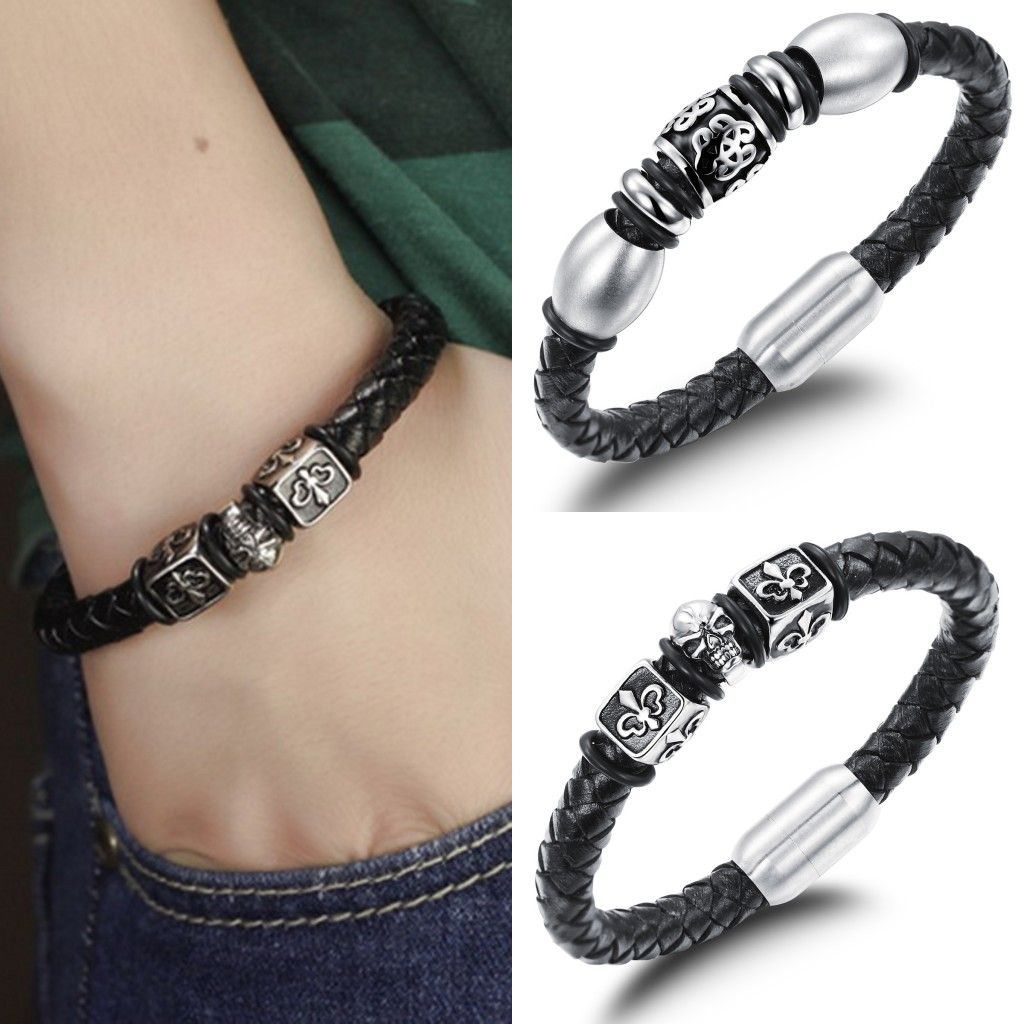 Cm cool jewelry menus bracelets genuine leather titanium steel