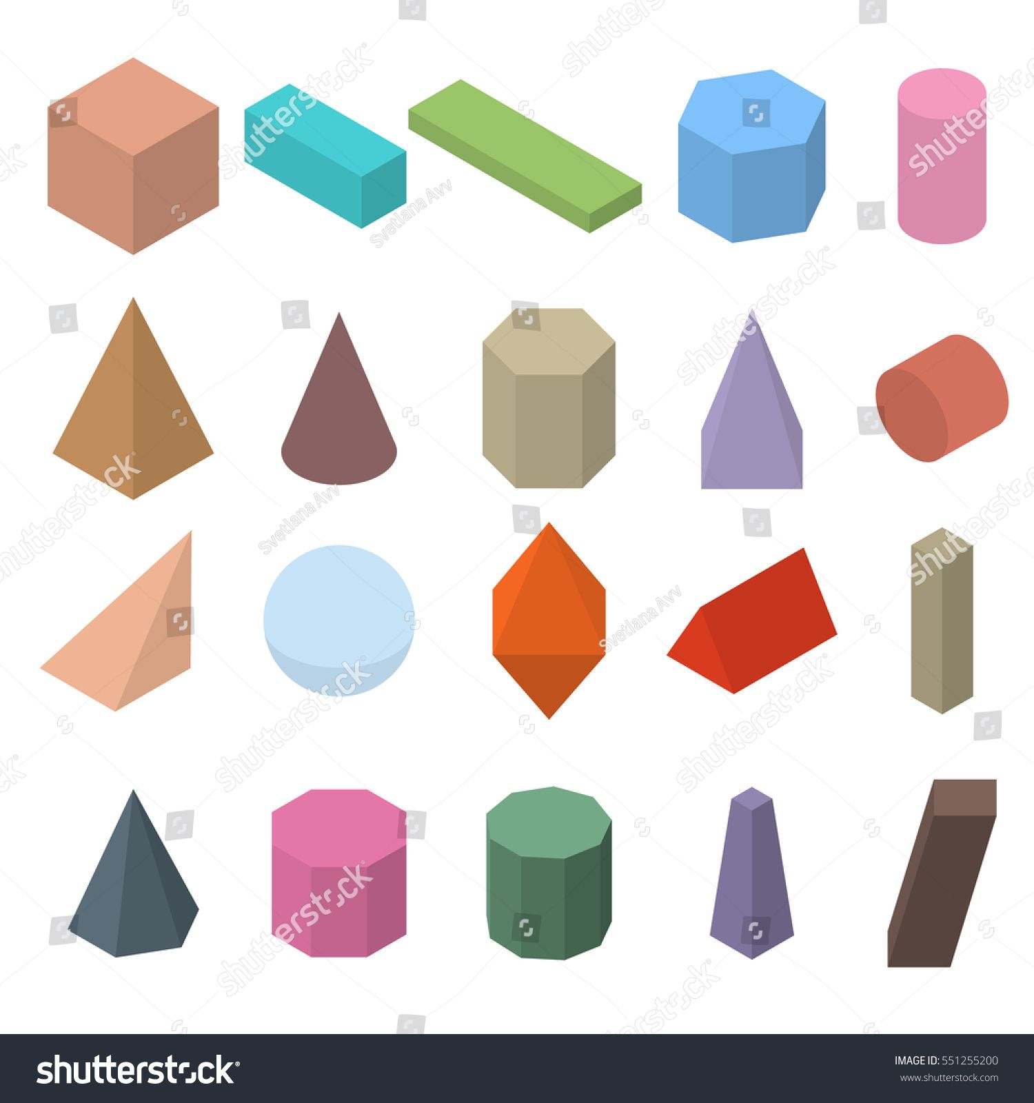Set Of 3d Geometric Shapes Isometric Views The Science
