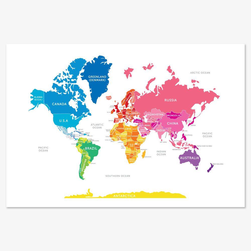 Bright World Map | Kai Asher | Kids room art, Map wall art ...