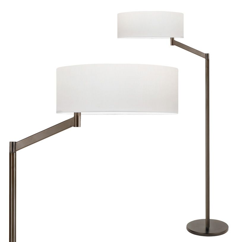 "Perch Floor Lamp's large linen shade rotates eccentrically to extend its reach to that of a traditionally classic swing arm lamp, allowing effortless adjustment to shed direct light on reading or tasks, while providing its surroundings with soft shaded illumination. Bronze finish with a white cotton shade. One 150-watt, 120 volt A19 medium base incandescent bulb is required, but not included. Dimensions: 14 inch width shade x 49.5 inch height x 25""depth."